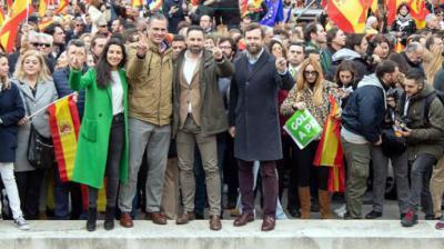 Los líderes de Vox en la manifestación de Colón convocada junto a PP y Ciudadanos VOX