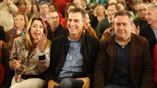 Susana Díaz, Pedro Sánchez y el alcalde de Sevilla, Juan Espadas.