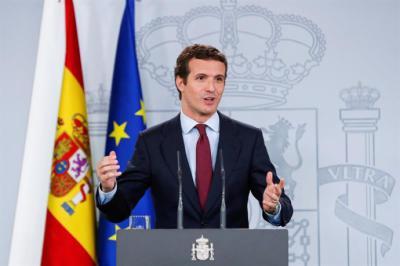 El líder del PP, Pablo Casado, durante su comparecencia