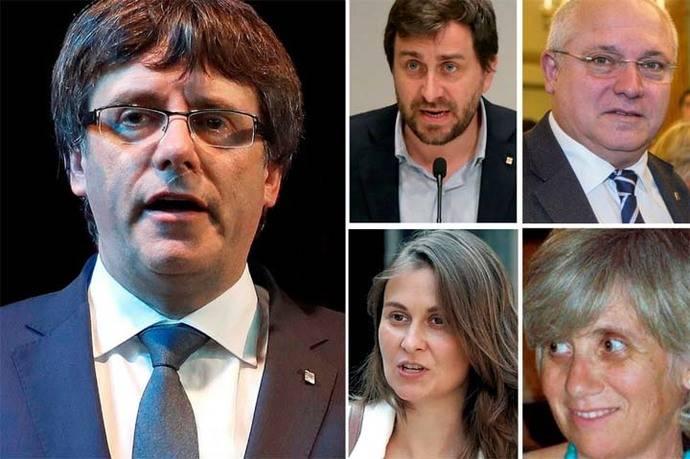 De izquierda a derecha y de arriba a abajo: el expresidente del Gobierno catalán Carles Puigdemont (i) ,el exconsejero de Salud Antoni Comin, el de Cultura Lluís Puig , de Agricultura Meritxell Serret , y de Enseñanza, Clara Ponsatí.