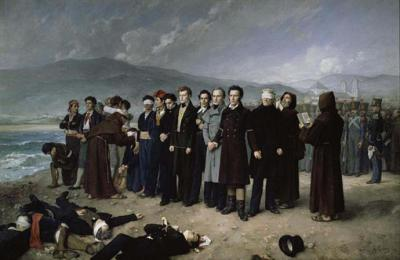 The Execution by Firing Squad of Torrijos and his Colleages on the beach at Málaga by by Antonio Gisbert Pérez (1888) Prado Madrid
