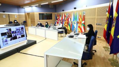 La ministra Carolina Darias, en la reunión de ministros de Sanidad europeos de ayer por la tarde.