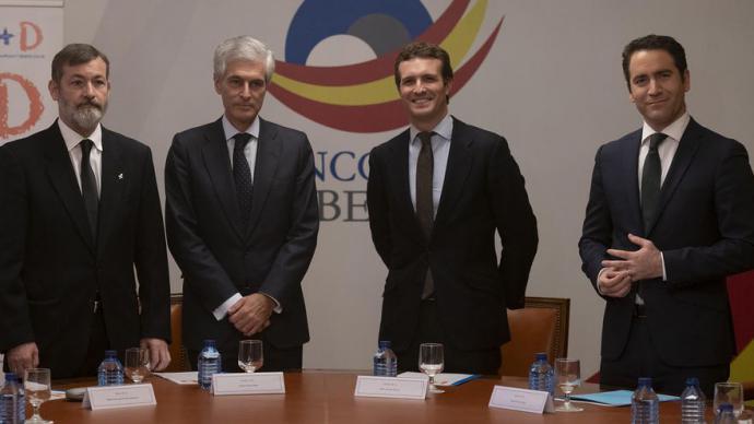 Suárez Illana, Casado y García Egea, en octubre de 2018, durante la presentación de la Fundación Concordia y Libertad.PP