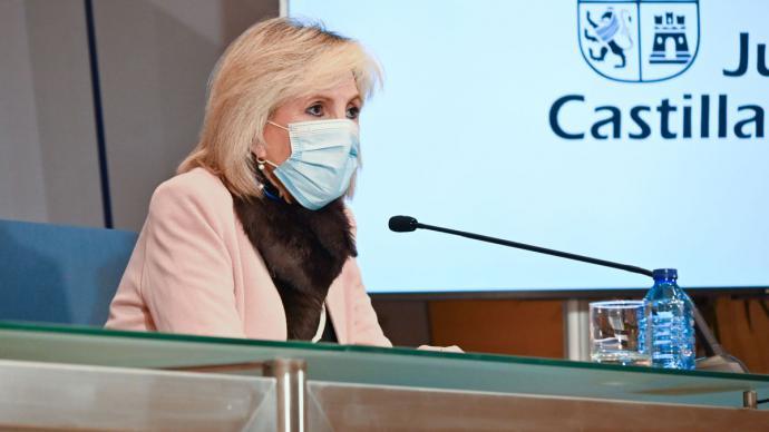 La consejera de Sanidad, Verónica Casado, en rueda de prensa.JCyL