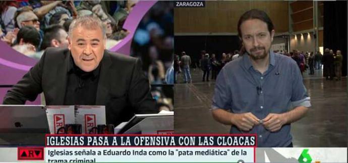 Pablo Iglesias reprocha en directo a Ferreras que La Sexta dé espacio a Eduardo Inda