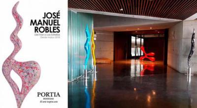 José Manuel Robles, escultor, expone sus obras en Portia Bodegas