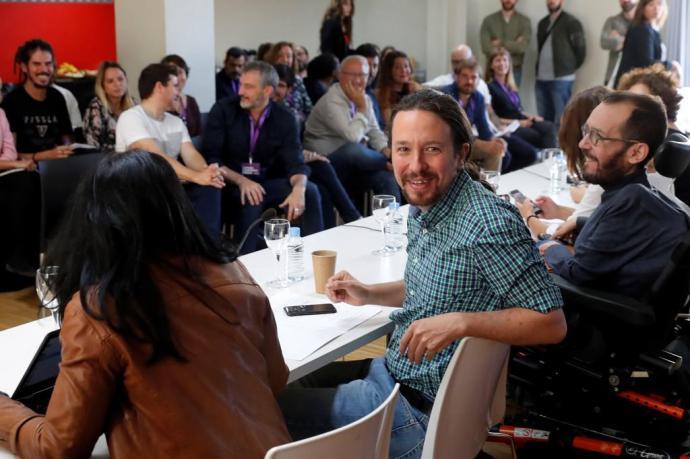 Pablo Iglesias, y Pablo Echenique, en el Consejo Ciudadano de Podemos.