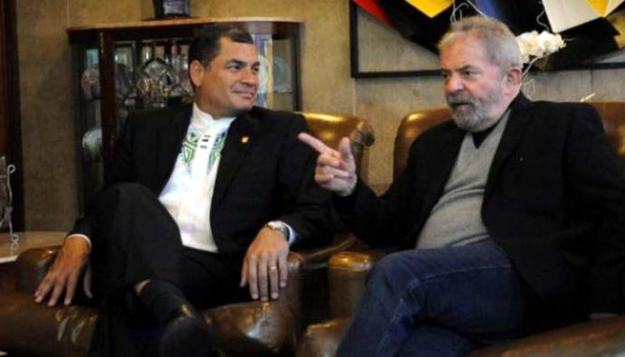 Correa y Lula Da Silva, ex presidentes de Ecuador y Brasil respectivamente ((Imagen de El Cohete a la Luna)
