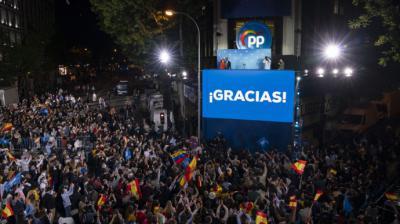 Celebración del triunfo de Ayuso en la sede del PP de la calle Génova de Madrid, el pasado martes.PP