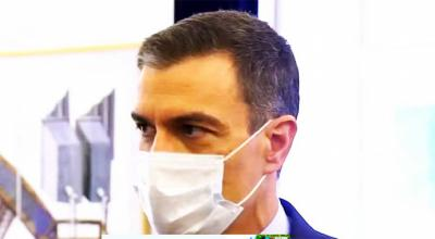 El presidente del Gobierno, Pedro Sánchez en rueda de prensa ofrecida tras la XXXI Cumbre Ibérica centrada en el desarrollo transfronterizo, este sábado en la ciudad lusa de Guarda. (captura de pantalla)