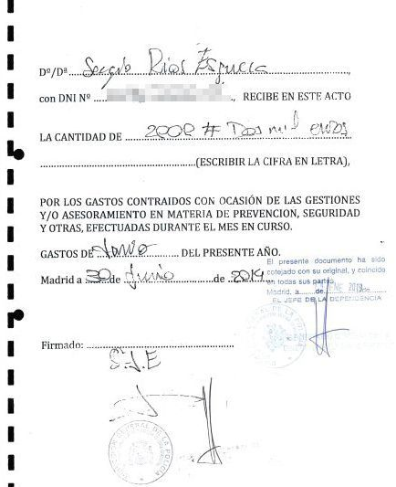 Recibí firmado por Sergio Río