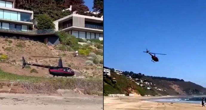 Coronavirus: en Chile usan helicópteros para violar la cuarentena y pasar Semana Santa en la playa