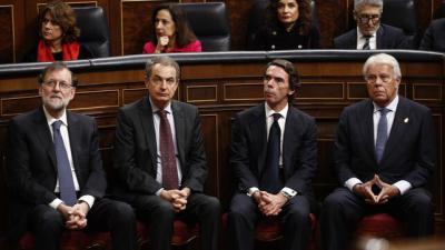 Los expresidentes del Gobierno Mariano Rajoy, José Luis Rodríguez Zapatero y Felipe González, en una imagen de archivo