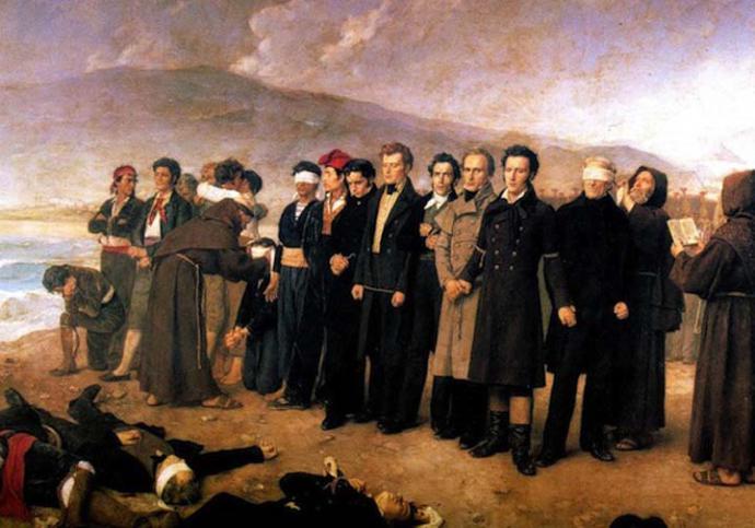 El fusilamiento de Torrijos' del pintor español Antonio Gisbert en 1888. El pelirrojo que está en el centro del cuadro es Robert Boyd.