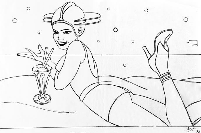 Montxo Algora Dibujo para el logo de La Vía Láctea - Tinta china y lápiz sobre papel vegetal. 46 x 70cm.