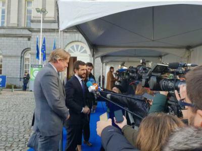 Pablo Casado en Bruselas, en un acto del PPE