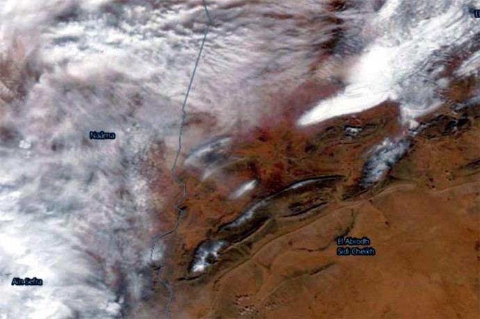 Imagen satelital de Ain Sefra (Argelia) durante la nevada.Nasa Worldview