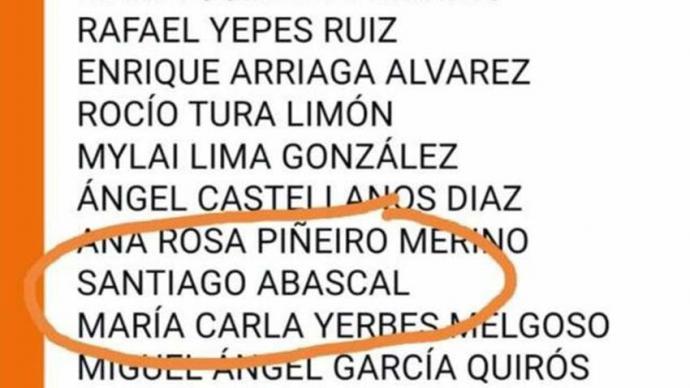 """Santiago Abascal aparece """"firmando"""" apoyo a Arrimadas"""