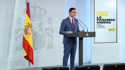 El presidente del Gobierno, Pedro Sánchez, durante la comparecencia en la que dio a conocer la nueva composición del Gobierno.EFE/Pool Moncloa/Borja Puig de la Bellacasa