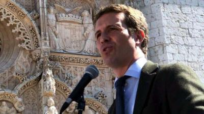 El presidente del PP, Pablo Casado, en el acto en Valladolid PP VALLADOLID