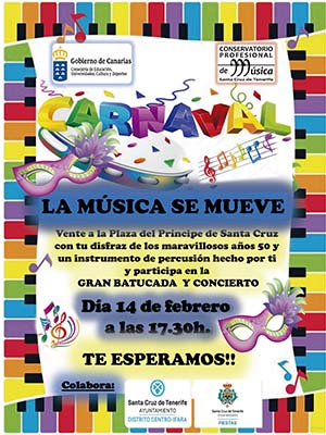 """""""La Música se Mueve"""" tomará Santa Cruz de Tenerife a ritmo de batucada este 14 de Febrero, día de San Valentín"""