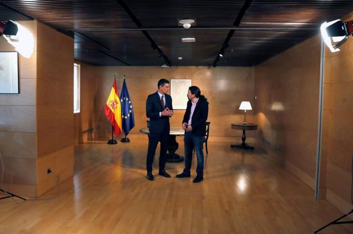 Sánchez e Iglesias, durante el encuentro que mantuvieron el pasado martes.