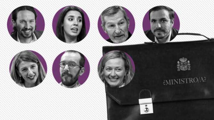 Alberto Garzón, Victoria Rosell o Pablo Echenique: los ministrables de Unidas Podemos en el Gobierno de coalición