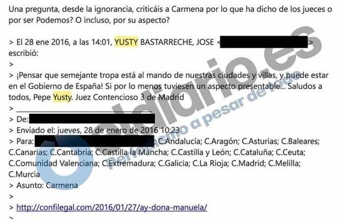 El juez que ha suspendido el acto por el derecho a decidir criticó a Carmena por no tener 'aspecto presentable'