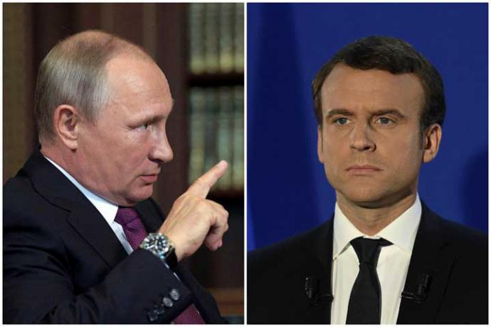 Vladimir Putin (i) y Emmanuel Macron, en un fotomontaje