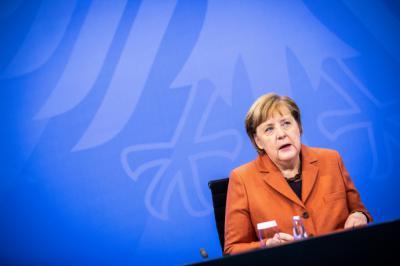 La canciller alemana, Angela Merkel, en una videoconferencia este domingo con los presidentes de los landers. Foto: Efe/ Rainer Keuenhof.