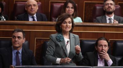 La vicepresidenta del Gobierno, Carmen Calvo, durante una intervención en el Congreso.