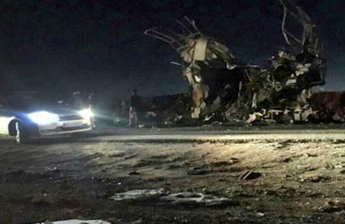 Imagen del atentado contra la Guardia de la Revolución iraní, de la agencia oficial.
