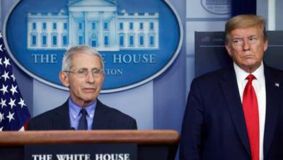 El presidente Donald Trump y director del Instituto Nacional de Alergia y Enfermedades infecciosas, Anthony Fauci.