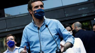 El presidente del PP, Pablo Casado, antes de acudir a la manifestación de Colón.EFE/David Fernández