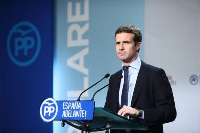 Pablo Casado en una comparecencia en el PP