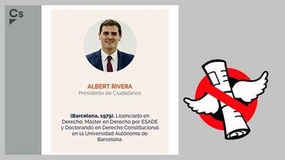 No, Rivera no es doctorando en derecho aunque lo diga la web de Ciudadanos