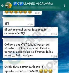 Pantallazo del grupo Populares de Vicálvaro con comentarios hechos el 27 de julio