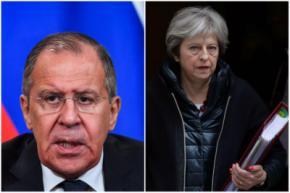 El ministro de Asuntos Exteriores de Rusia, Sergéi Lavrov y la Primer ministro británica, Theresa May
