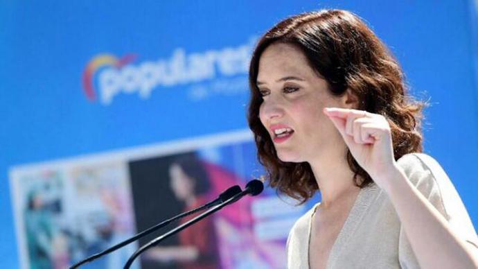 La candidata del PP a la Comunidad de Madrid, Isabel Díaz Ayuso, en un mitin. / PP