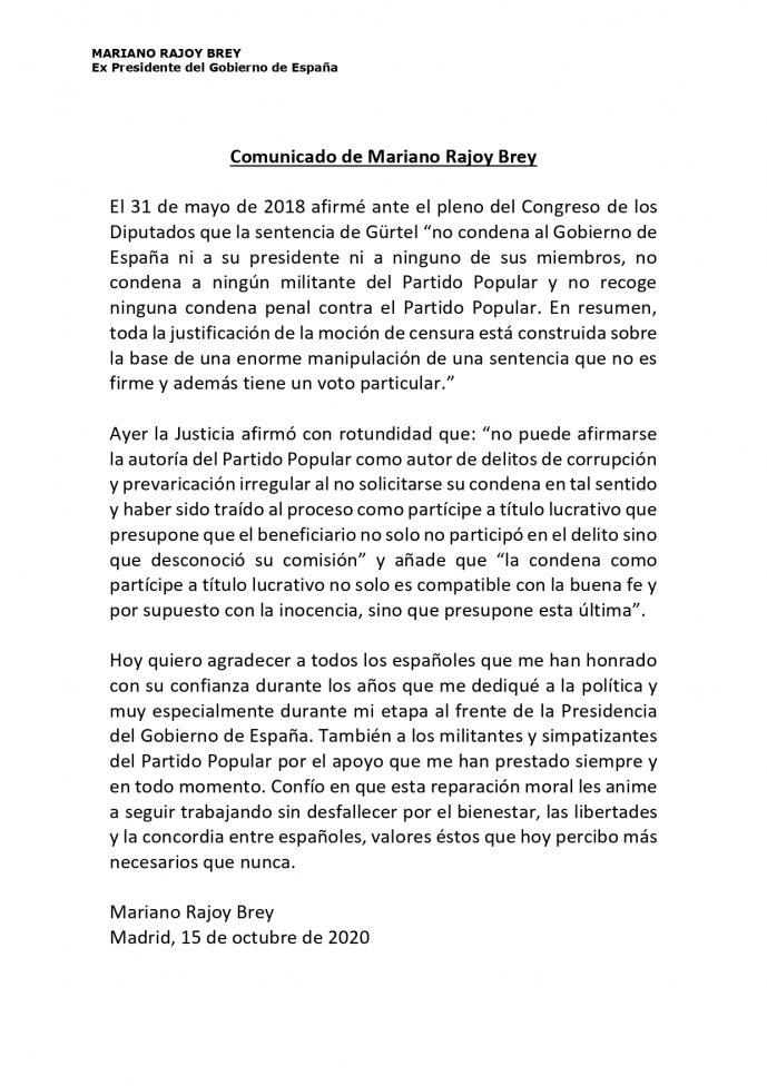 Rajoy cree que la sentencia del Supremo que ratifica que el PP se lucró con Gürtel es una 'reparación moral' y agradece a los militantes su apoyo