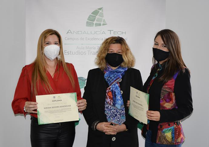 Lorena Arce Romeral y Miriam Seghiri receive the 2nd George Campbell Prize from the María Zambrano Centre of Transatlantic Studies in Malaga University