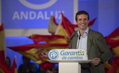 El presidente del PP, Pablo Casado, el domingo, en Málaga. FLICKR PP