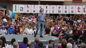 Pablo Iglesias en un mitin de la campaña de abril de 2019