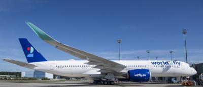 El A350 de World2Fly con base en el aeropuerto de Madrid.