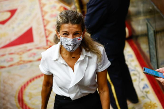 Yolanda Díaz al salir del pleno del Congreso.Sergio R. Moreno / Gtres