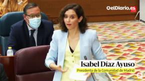 La presidenta de la Comunidad de Madrid, Isabel Díaz Ayuso, durante el Pleno (CAPTURA DE PANTALLA)