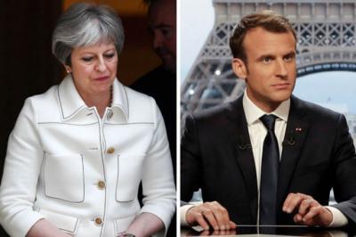 .- La primera ministra británica, Theresa May, y el presidente de Francia, Emmanuel Macron
