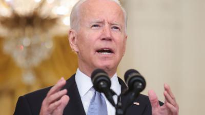 Joe Biden durante su comparecencia sobre la ofensiva talibán en AfganistánEFE/EPA/Oliver Contreras / POOL