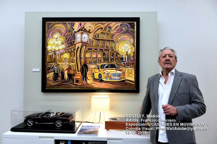 Francisco Herrero expone su pintura 'Ciudades en Movimiento' en la sede de Bentley Madrid