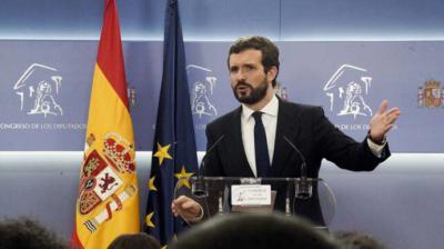 Pablo Casado, este lunes, durante la rueda de prensa que ofreció tras reunirse con Pedro Sánchez en el Congreso.FLICKR PP